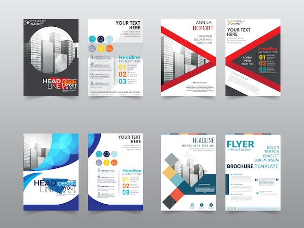 Set front and back business brochure template Vector ...