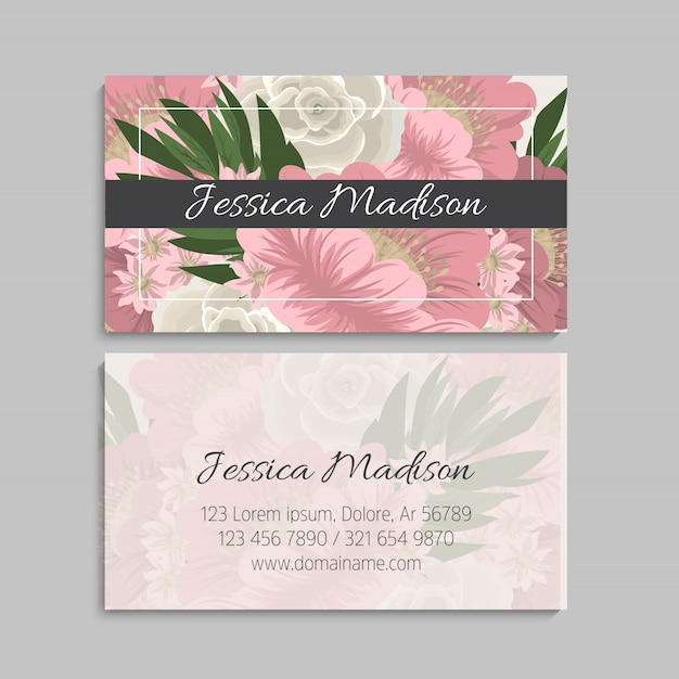 Set of front and back of business card with flowers Premium Vector