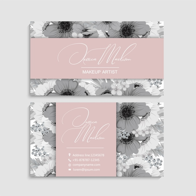 Set of front and back of business card with flowers Free Vector
