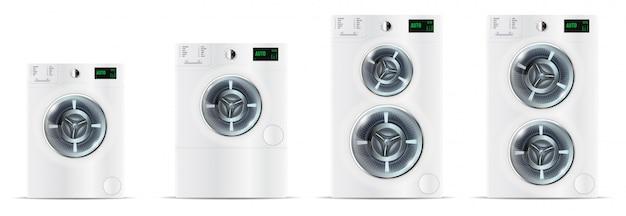Set of front load white washing machines Premium Vector