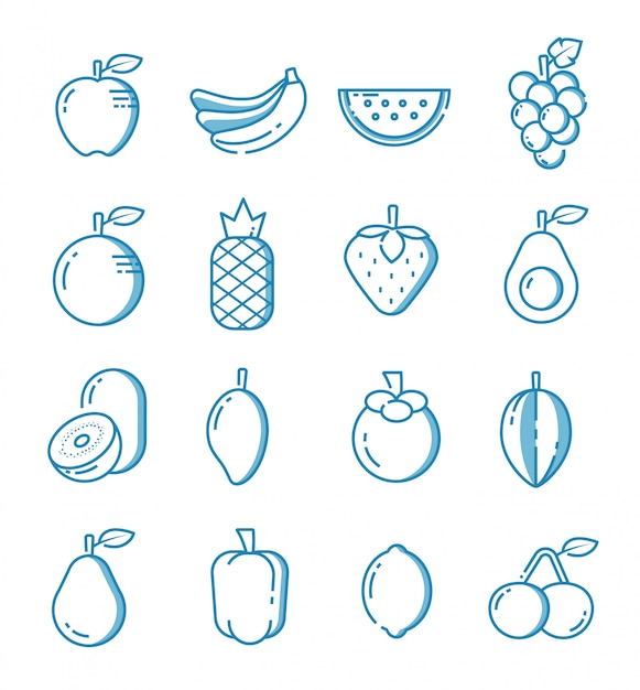 Set of fruit icons with outline style Premium Vector