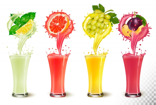 Set of fruit juice splash in a glasses. mint and lemon, grapefruit, grapes, plum. Premium Vector