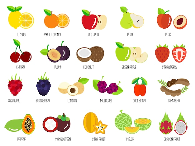 Set of fruits Premium Vector