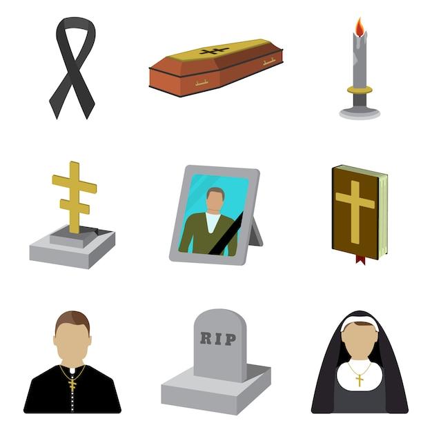 Set of funeral cartoon icon. isolated Premium Vector