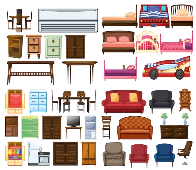 Set of funiture objects Free Vector