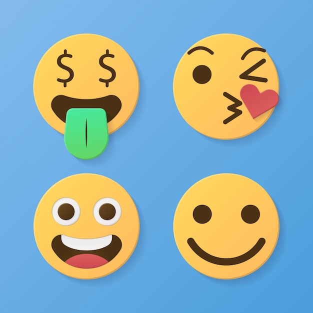 Set of funny 3d paper cut emoticons character yellow color with various facial expression styles Premium Vector