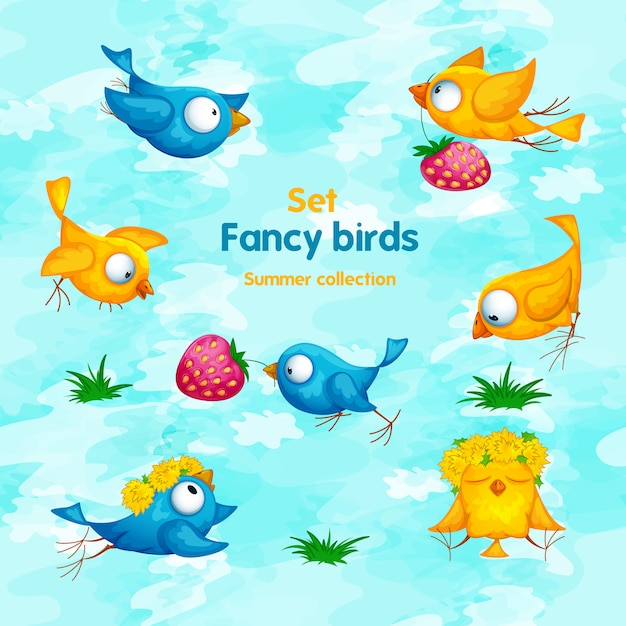 A set of funny cartoon birds with flowers, a wreath and strawberries. Premium Vector