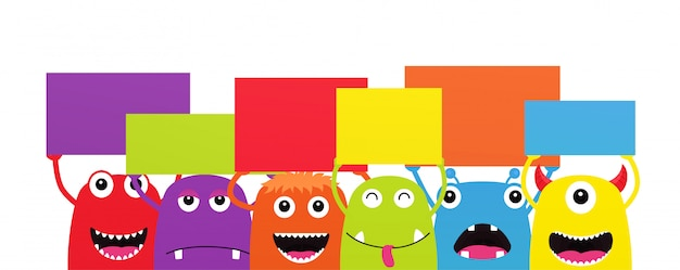 Set of funny cartoon monsters with dialogue speech banners. characters halloween on white backgroun