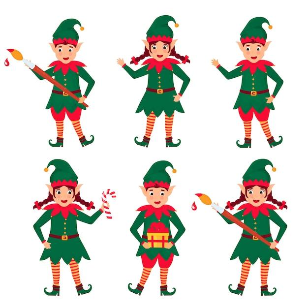Set of funny christmas elves. cartoon character. Premium Vector