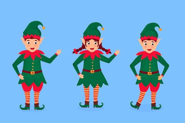 Set of funny christmas elves illustration. cartoon character. Premium Vector