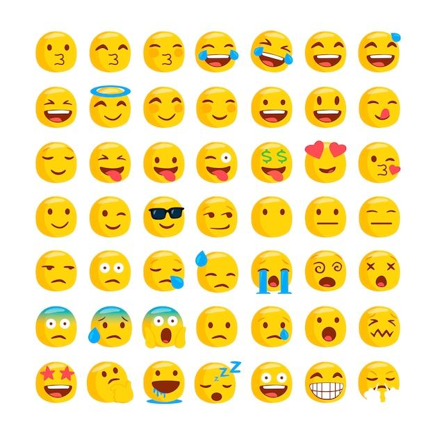 Set of funny classic emojis. Premium Vector