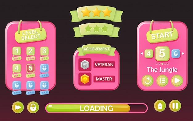 Set of funny game ui kit Premium Vector