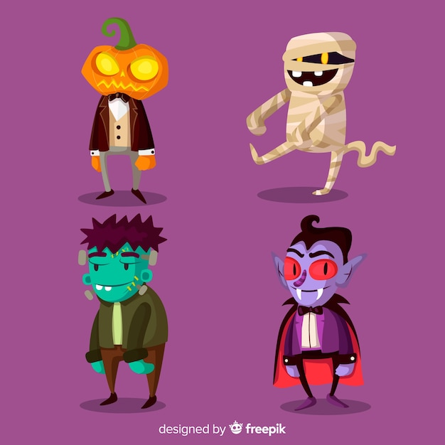 Set of funny halloween characters Free Vector