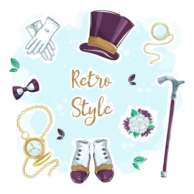 Set of funny hand drawing stickers for retro gentlemanly style. Premium Vector