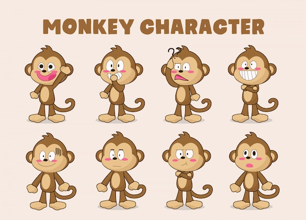 Set of funny monkey cartoon Premium Vector