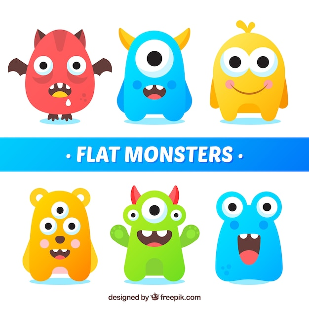 Set of funny monsters in flat style Free Vector