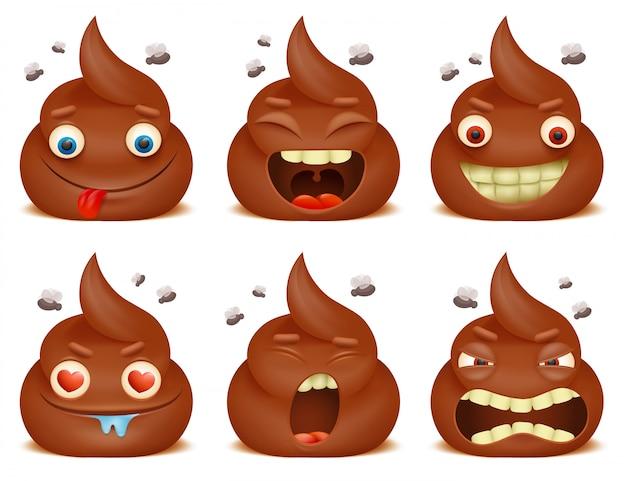 Set of funny poo emoticon cartoon characters. Premium Vector