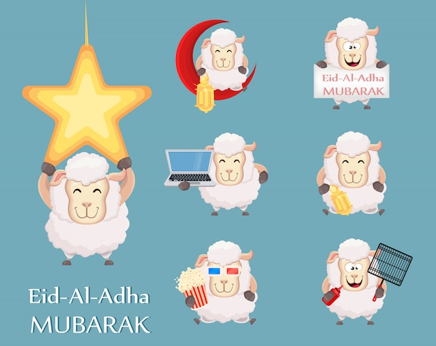 Set of funny sheep with various things Premium Vector