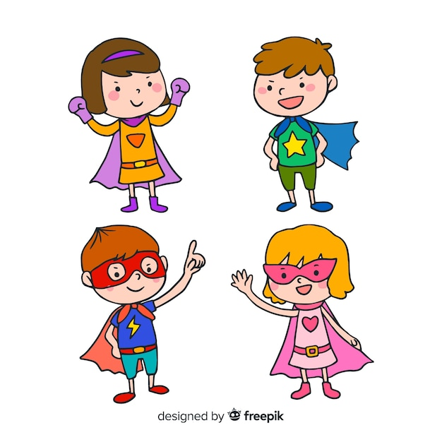 Set of funny superheroes Free Vector