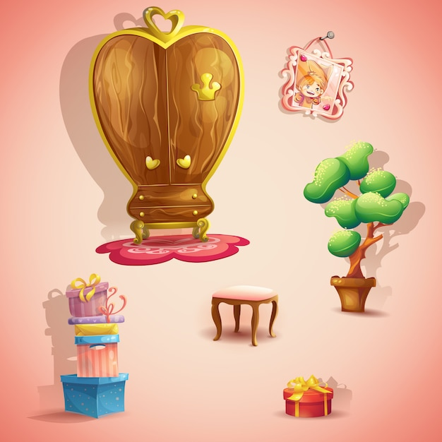 A set of furniture and items for the doll princess bedroom Premium Vector