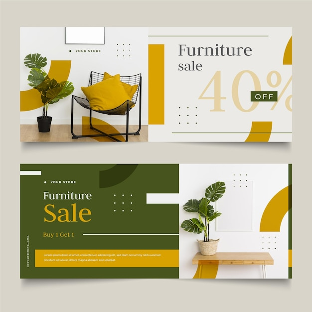 Set of furniture sales banners Free Vector