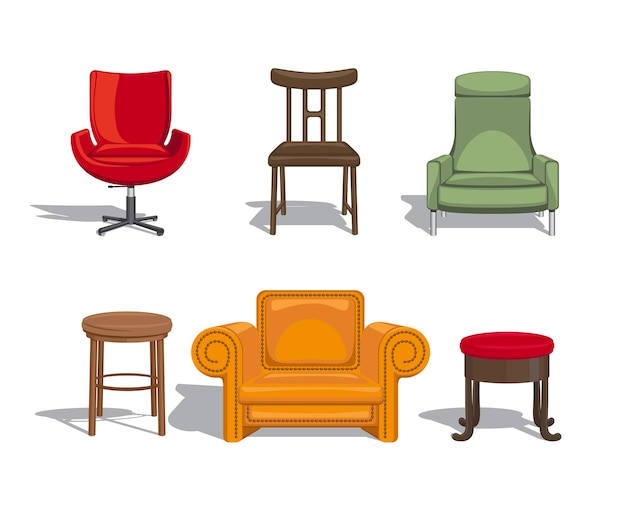Set of furniture for sitting. chairs, armchairs, stools icons. vector illustration Free Vector
