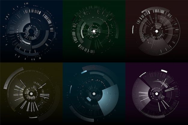 Set of futuristic interface elements. technology circles. digital futuristic user interfaces. Premium Vector