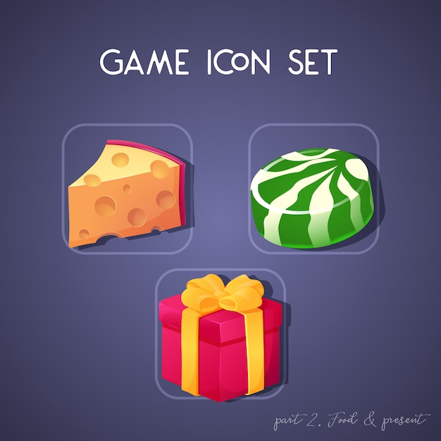 Set of game icon in cartoon style. food and present: cheese, candy and box. bright design for app user interface Premium Vector