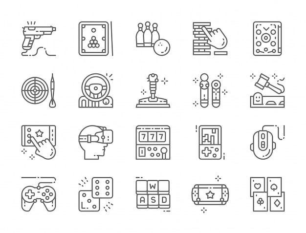 Set of game line icons Premium Vector