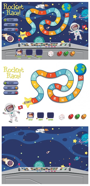 Set of game template with astronaut in space Premium Vector
