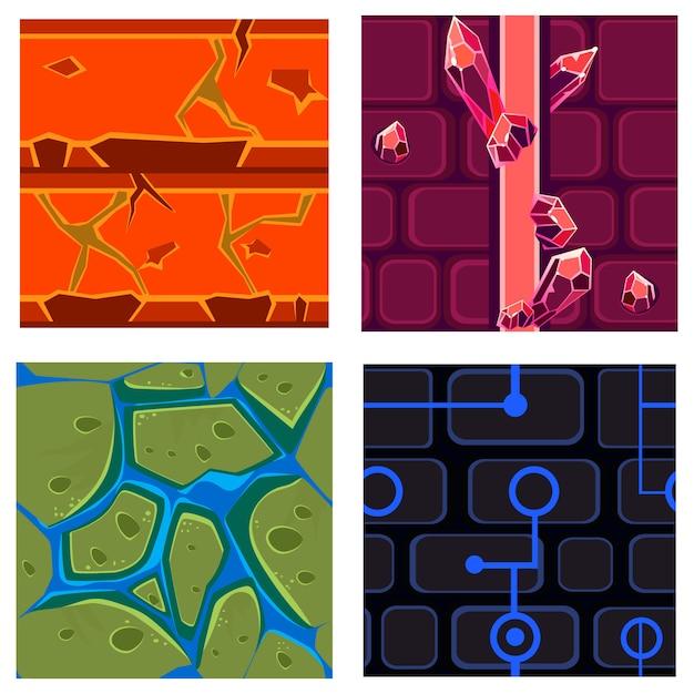 Текстуры для платформеров set games Premium векторы