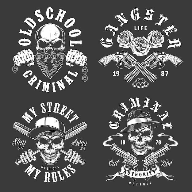 Set di emblemi di gangster Vettore gratuito