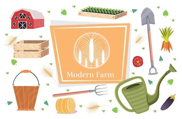 Набор садовых и сельскохозяйственных инструментов коллекция садового оборудования органическое эко сельское хозяйство концепция Premium векторы