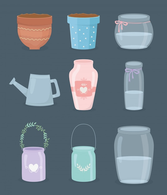 Set of gardening containers icons Premium Vector