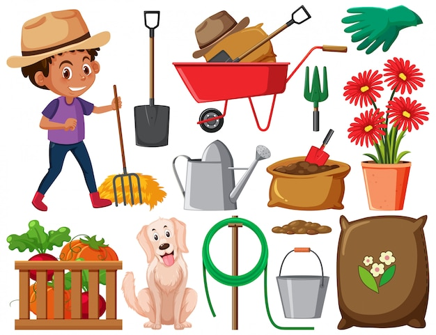 Set of gardening items on white background Premium Vector