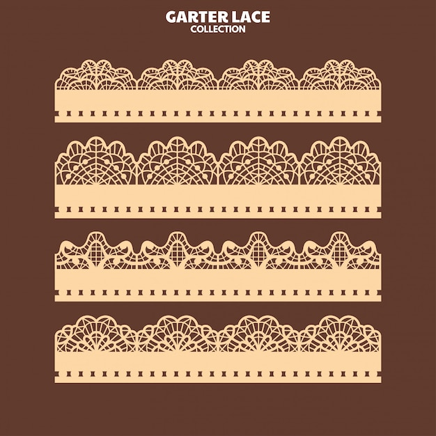 Set garter lace ornament for embroidery and laser cut Premium Vector