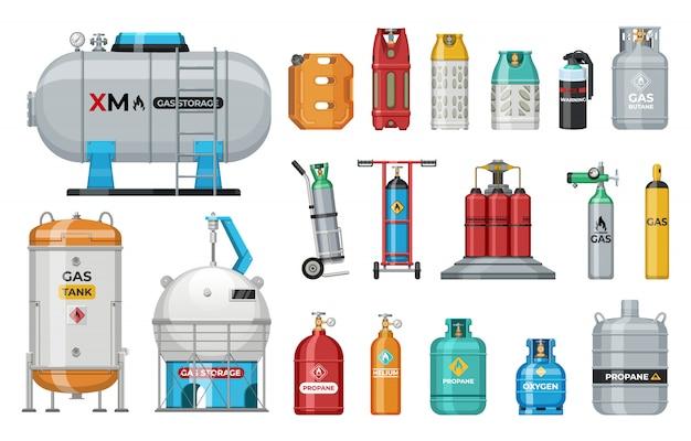 Set of   gas cylinder. safety fuel tank of helium butane acetylene Premium Vector