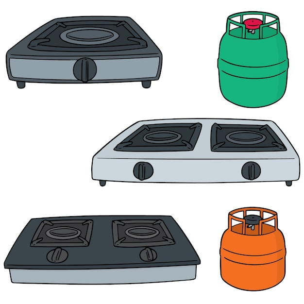 Set of gas stoves Premium Vector