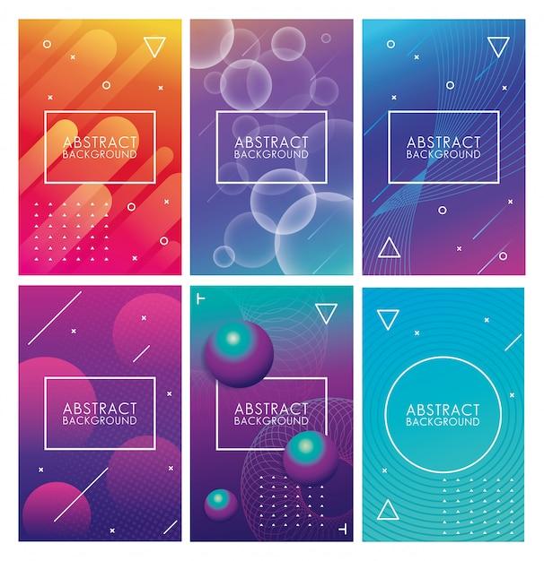 Набор геометрических красочных абстрактных фонов Premium векторы