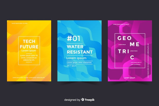 Set of geometric design covers Free Vector
