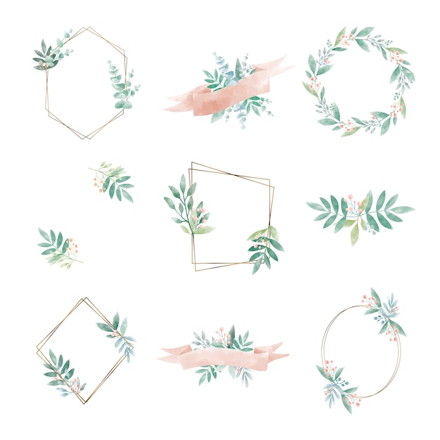 Set of geometric frame with leaves vector Free Vector