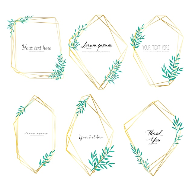 Set of geometric frame with leaves watercolor, botanical composition. Premium Vector