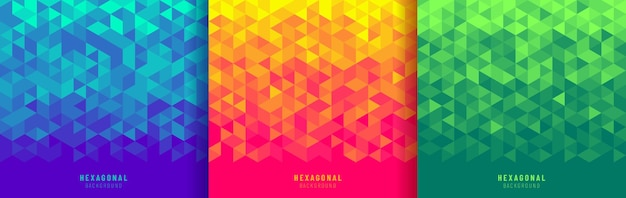 Set of geometric hexagon shapes blue red yellow and green background. Premium Vector
