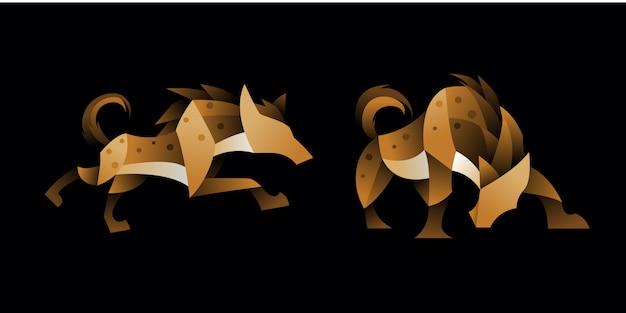 Set of geometric hyena Premium Vector