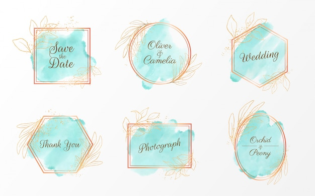 Set of geometric watercolor badge with gold and floral glitter decoration Premium Vector