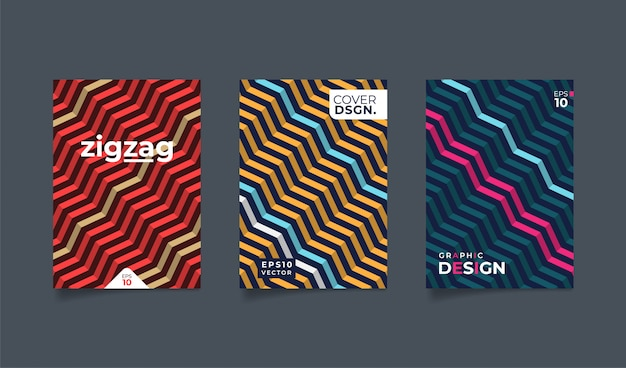 Set geometric zig zag pattern background. Premium Vector