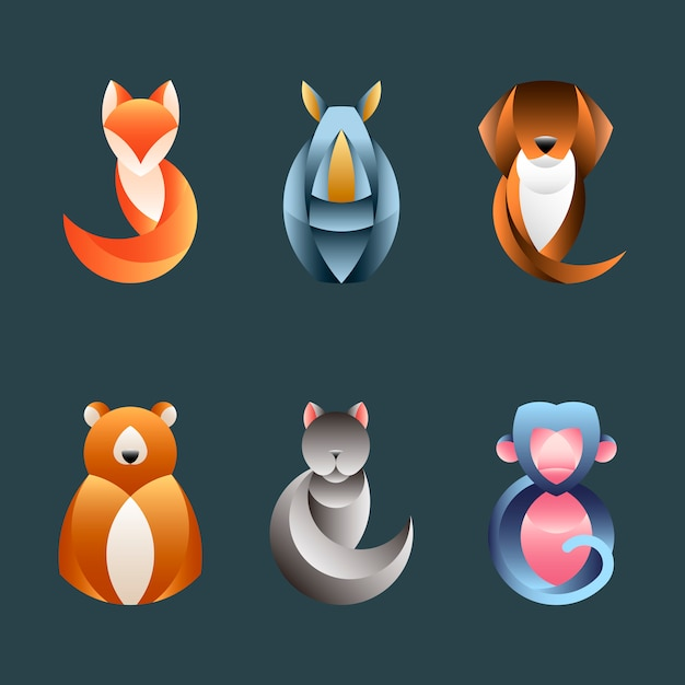 Set of geometrical animal design vectors Free Vector