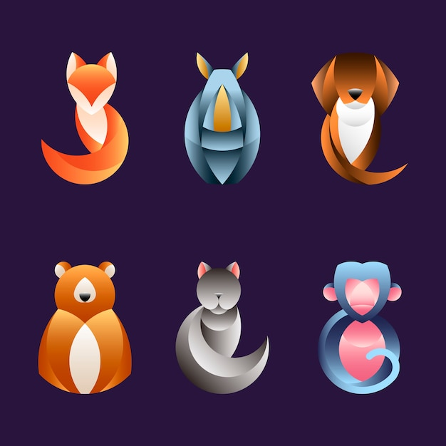 Set of geometrical animal design vectors Free Vector
