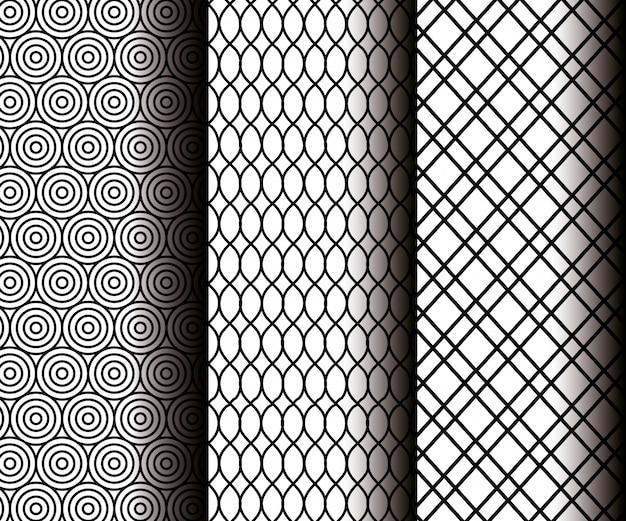 Set geometrics figures in grey seamless patterns Free Vector