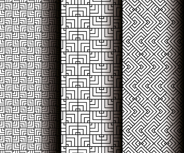 Set geometrics figures in grey seamless patterns Free Vector